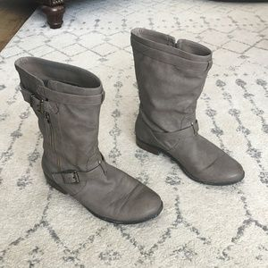 Express Grey Faux Leather Mid Calf Boots